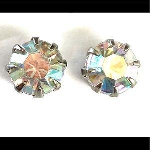 Iridescent Rhinestone Stud Earrings